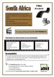 English Worksheet: Film project South Africa