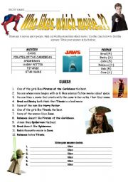 English Worksheets: Who Likes Which Movie..??