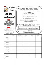At the Restaurant Roleplay Sheets A and B (Part 4 of 4)