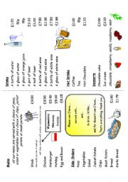 English Worksheet: At the restaurant Menu card for Roleplay (Part 3 of 4)