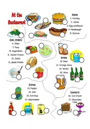 English Worksheet: At the restaurant vocabulary match for Roleplay (Part 2 of 4)