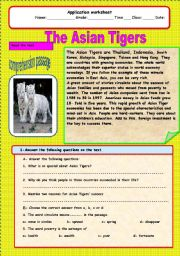 English Worksheets: Tigers -a comprehension passage