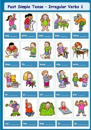 English Worksheet: Past Simple Tense - Irregular Verbs 1-5