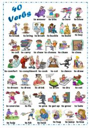 English Worksheets: Find 40 verbs (1/2)