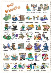 English Worksheets: Find 40 Verbs (2/2)
