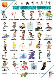 English Worksheet: THE SUMMER SPORTS POSTER  PART 1/2 (B&W INCLUDED)
