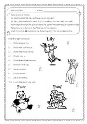 English Worksheet: Real Beginners - kids - adults - reading test for real beginners - easy