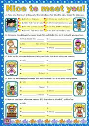 English Worksheets: Nice to meet you!  -  Short dialogues to act out.