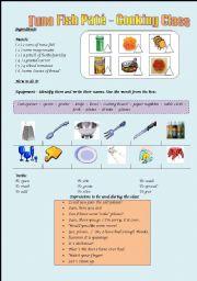 English Worksheet: Tuna Fish Pat� - COOKING CLASS + Activities and verbs