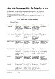 English Worksheets: Letter to the Editor Assessment Task