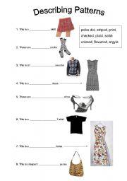 English Worksheet: Clothing: Describing Patterns