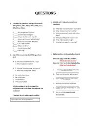 English worksheet: Questions: Object and subject
