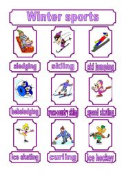 English Worksheet: Winter sports - pictionary