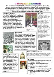 English Worksheets: Peace Movement