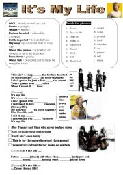 English Worksheet: It�s My Life