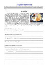 English Worksheet: Meals in Britain - English Breakfast