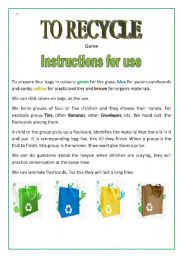 English Worksheet: To Recycle