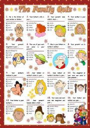 English Worksheet: THE FAMILY QUIZ