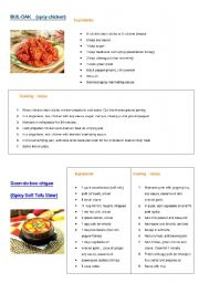 English Worksheet: Ingredients and recipes