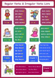 English Worksheet: Regular Verbs & Irregular Verbs Lists 5-5