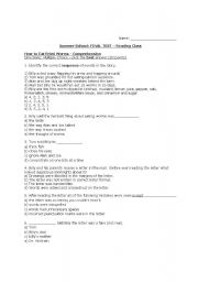 "English worksheets: Final Test - from children´s novel ""How to Eat ..."