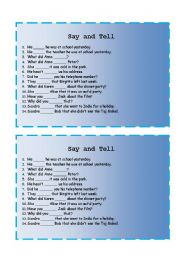 English Worksheet: Say and Tell exercises