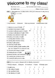 English Worksheets: First Day: Interest/Ability Survey
