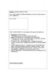 English Worksheet: Gandhi Obituary writing frame