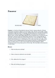 English Worksheets: Passover, a religious festivity