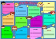 English Worksheet: Birthdays