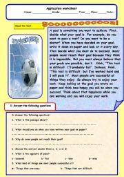 English Worksheets: goal