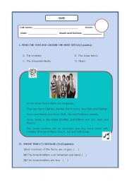 English worksheet: family reading quiz!!!!!