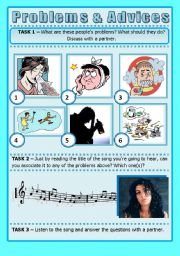 English Worksheet: SONG ACTIVITY - Rehab (By Amy Winehouse) - Talking About Problems and Giving Advice (2 pages)