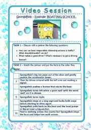 English Worksheet: Video Session - SPONGEBOB - Boating School - Talking About Driving and Traffic (2 pages)