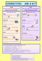 English Worksheets: connectives_and+but