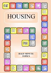 English Worksheets: Housing - a boardgame or pairwork (34 questions for discussion)