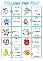 English Worksheet: Telling the time dominoes. First Set