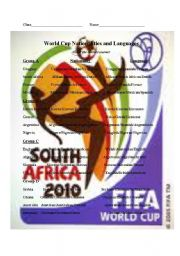 English Worksheet: World Cup countries, nationalities and languages worksheet