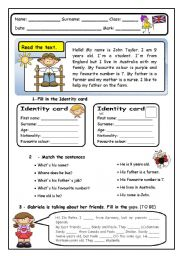 English Worksheet: Elementary End of Term Test