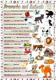 English Worksheet: PROVERBS AND ANIMALS