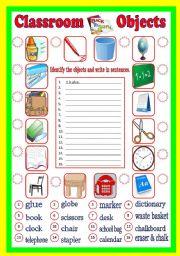 English Worksheet: Classroom Objects (B/W & Keys)
