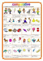 English Worksheet: comparative + key (11.06.10)