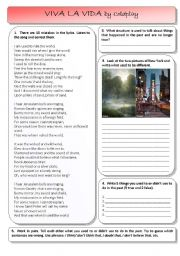 English Worksheet: Viva la Vida by Coldplay