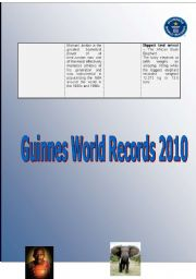 English Worksheet: Guinnes World Records 2010 - Part II
