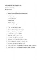 English Worksheets: The Hangover movie worksheet