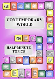 English Worksheets: The Contemporary World - a boardgame or pairwork (34 questions for discussion) (editable)