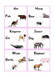 English Worksheets: animals dominocards