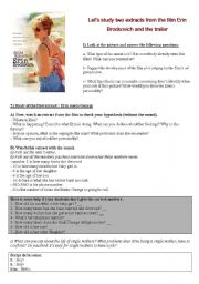 English Worksheets: Erin Brockovich - study of two extracts and the trailer