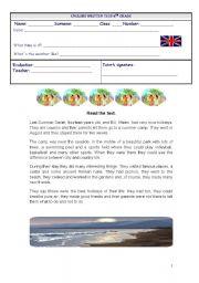 English Worksheet: My last summer holidays