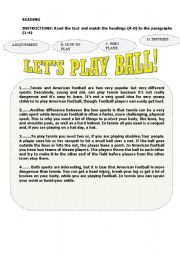 English Worksheets: Let�s play ball!